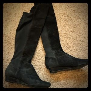 Black suede riding boots